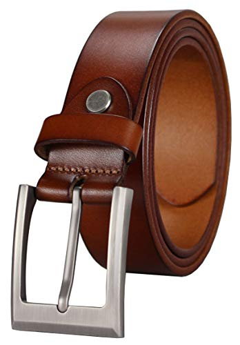 Bullko Mens Genuine Leather Dress Casual Belt 1.25 Classic Buckle Brown 38-40