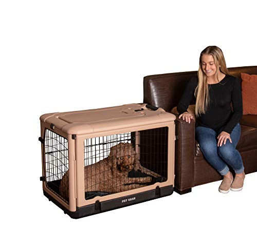 "Pet Gear ""The Other Door"" 4 Door Steel Crate with Comfort Pad + Travel Bag for Cats/Dogs, Sets up in Seconds No Tools Required, Built-In Handle/Wheels"