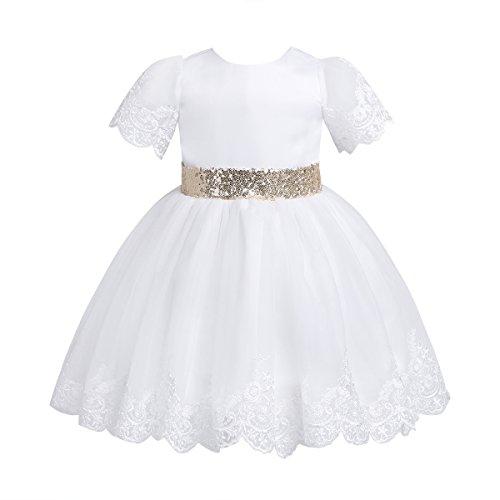 TiaoBug Vestido Boda Bautizo Ceremonia para Bebé Niña (3-24 Meses) Vestido Lentejuelas Elegante de Comunión Cumpleaños Recién Nacidas Infantiles Blanco 6-9 Meses