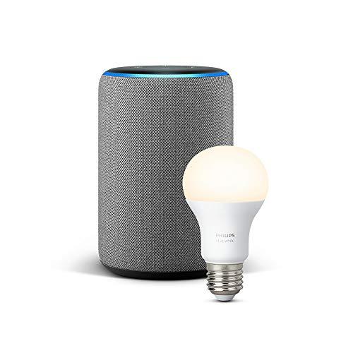 Echo Plus (2ème génération), Tissu gris chiné + Ampoule connectée Philips Hue