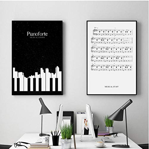 Black and White Piano Sheet Music Canvas Painting Art Abstract Print Poster Picture Wall Living Room Bedroom School Decoration 50x70cmx2 niet-geframed