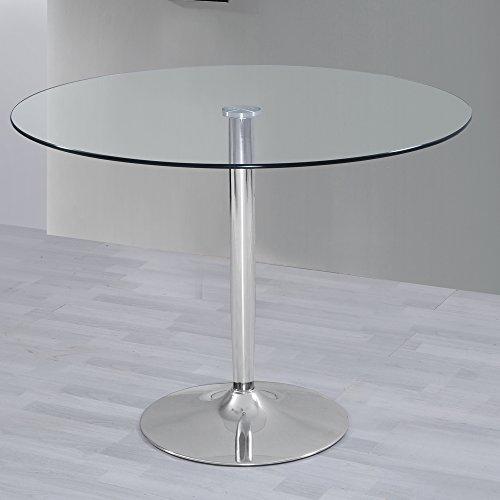 HOGAR24 Mesa de Salon Comedor Cocina Redonda de Cristal y Base de Metal Cromado