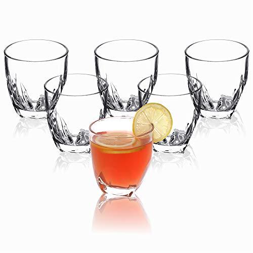 KADAX Trinkgläser, 6er Set, transparente Wassergläser mit verstärktem Boden, dickwandige Saftgläser, geriffelte Gläser, Trinkglas (Niedrig, 310ml)