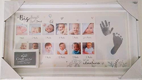 Hugs & Kisses Mein erstes Jahr-Foto-Rahmen-Baby-Geschenk-Andenken-Erinnerungen