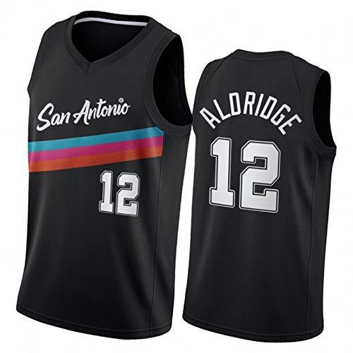DeRozan Aldridge Basketball-Trikot für Herren, Sporen Black City Edition Fiesta Farben 2021 Sportbekleidung, Netzstoff, atmungsaktiv, schnell trocknende Weste Gr. S, 12#
