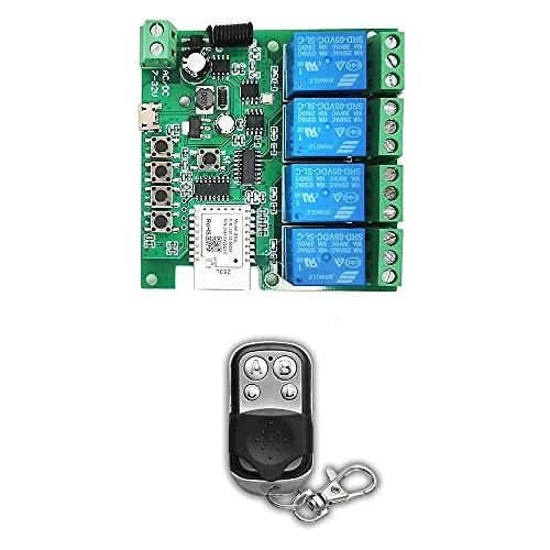Fauge MóDulo de Interruptor de Luz Inteligente Zigbee de 4 Canales 5-32V RF433 Receptor 10A ReléS Funcionan con el Asistente de Alexa, Tuya Life