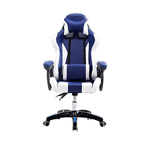 ZYLZL Chair Computer Chair Office Home Desk Game Chair Height Adjustable High Back Desk Chair Ergonomic Racing Style Seat With Headrest And Waist Support Suitable For Home Use,Blue White
