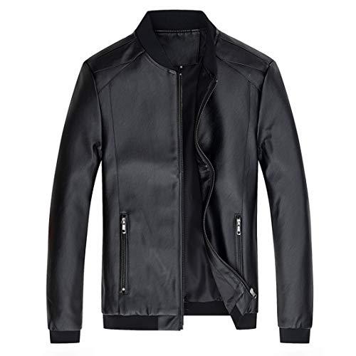 Herren Biker Lederjacke Jacke Mode Coole Jacke Leder Langarm Winter Stehkragen Winddichte Übergangsjacke Mit Taschen Bikerjacke M