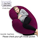 Angel Mommy Luxurious Imported Velvet Pregnancy Pillow/C Shaped Pillow with Zippered Cover