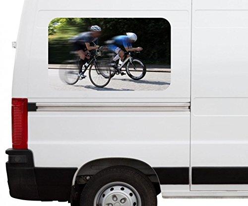 Autoaufkleber Rennrad fahren Straße Fahrrad tour Car Wohnmobil Auto tuning Digital Druck Fenster Sticker LKW Bild Aufkleber 21B558, Größe 3D sticker:ca. 45cmx27cm
