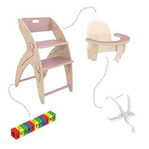 QuarttoLino 7 -in- 1 Baby - Hochstuhl aus Holz/Kinderhochstuhl ab 6 Monaten, mitwachsend, höhenverstellbar, bis 110 kg belastbar Set Mini (Rosa)