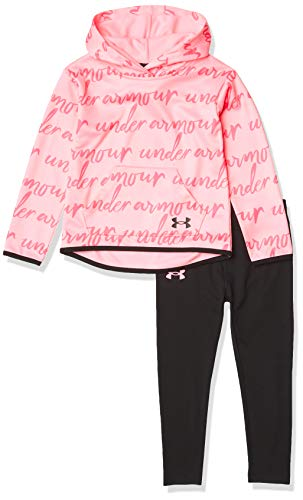 Under Armour Girls' Full Zip Hoody and Pant Set, Pink Craze, 5