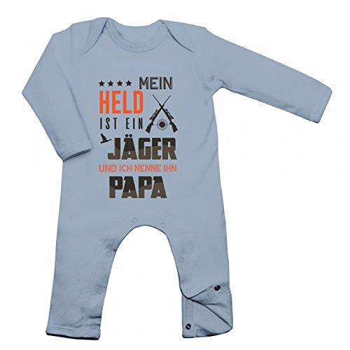 Jäger Babybody Berufe Follow Your Dreams Traumberuf Langarm Langärmliger Strampler, Farbe:Babyblau (Dusty Blue BZ13);Größe:6-12 Monate