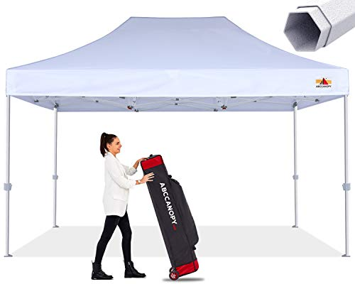 Premium Pop Up Canopy Tent 10x15 Commercial Instant Shelter, Bonus Wheeled Carry Bag and 4 Sand Bags, White