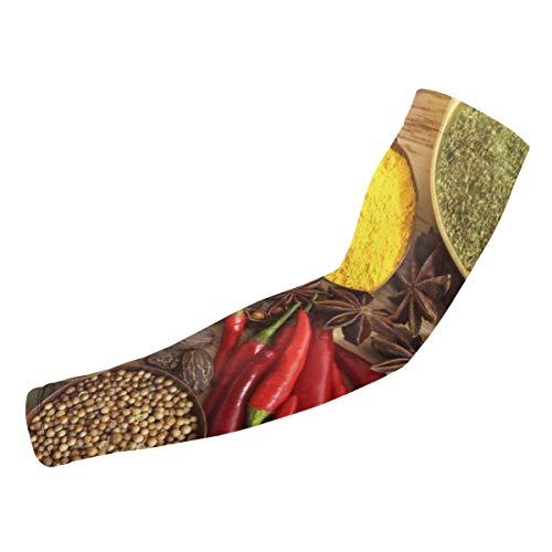 BJAMAJ Specerijen kruiden rode peper UV bescherming Koeling Arm Mouwen Arm Cover Zon Bescherming Voor Mannen & Vrouwen Jeugd Prestaties Stretch & Vocht Wicking