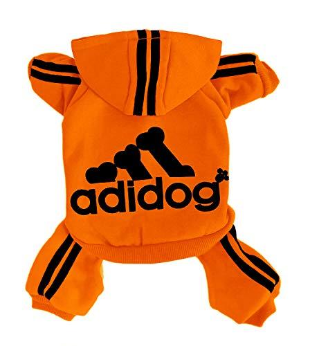Rdc Pet Adidog Chien Sweat à Capuche Chien vêtements Combinaison Polaire Pull Chaud Veste en Coton 4 Jambes Sweat Shirt Manteau pour Petit Chien Chien Moyen Grand Chien (Orange,4XL)