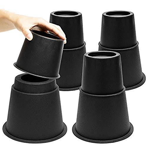 MOVEONSTEP Muebles Elevadores de Cama 8 PCS Elevadores Ajustables para Camas, Mesas sillas o Mobiliario 7.5, 13, 20.5CM-Negro