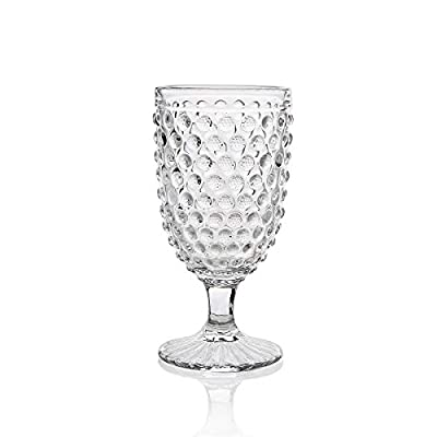 Omita Boston Wine Goblet Set of 6 Clear 13 oz Vintage Embossed Glass Beverage Jucie Cup Perfect for Dinner Parties Bars & Restaurants