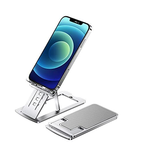 SmartDevil Soporte Móvil, Soporte Teléfono Soporte Dock Base para Teléfono para iPhone 12 11 Pro MAX XS XS MAX XR X 8 7 6 Plus 5 4, Samsung S10 S9 S8, Huawei, Soporte 4-12in - Plata