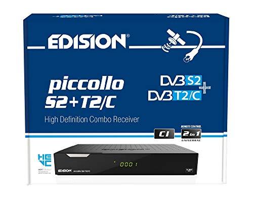 Edision PICCOLLO S2+T2/C, 10 Bit Ricevitore CI COMBO con lettore di schede, due sintonizzatori, un satellite per DVB-S & S2 e un HYBRID per DVB-T / T2 e DVB-C, 2x USB, Full HD, Nero