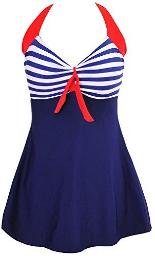 PANOZON Damen Neckholder Push Up Badekleid Einteiler mit Rückchen Effekt Schwimmanzug Figurformender Badeanzug mit Hotpants Frauen Bademode(3XL,3 Blau&Weiss)