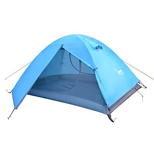 YMYGCC Tente de Camping Tente Backpacking, 2 Personne Poteau en Aluminium léger Tente de Camping, Double Couche Sac à Main Portable for la randonnée, Travelling (Color : Blue)
