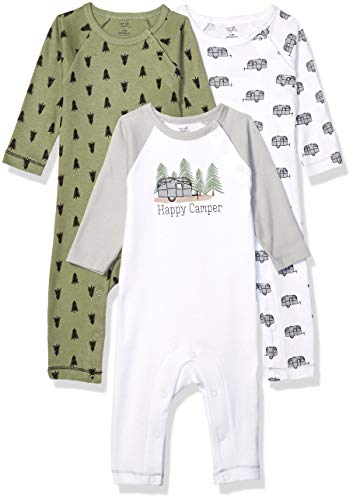Touched by Nature baby girls Organic Cotton Coveralls Overalls, Happy Camper, 3-6 Months US