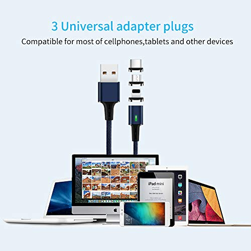 Magnetic Data Charging Cable,i-Product + Micro+Type C USB Cable,Mantis 3 in 1 Data Sync Phone Charger,3.3 Feet Nylon Braided Cord with LED Indicator 3 Adapters for Smartphones and Tablets (Blue)