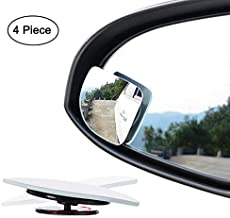 Fan Shape 360 Degree Rotate Sway Adjustabe Blind Spot Mirrors, Ampper HD Glass Convex (Low Curvature) Frameless Stick On Lens (Pack of 4)