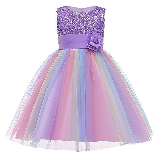 Princesa Niñas Vestir Ropa Disfraces Halloween Niños Malla Vestidos Faldas Trajes Flor-púrpura_130cm