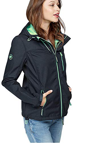 Superdry Damen Windtrekker Hooded Jacket Jacke gefüttert Windjacke Kapuze (Marine, S)