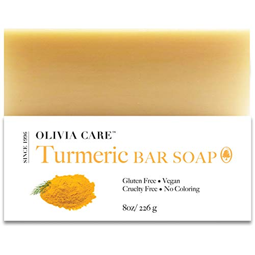 Turmeric Bar Soap By Olivia Care - 100% Natural, Vegan & Organic - For Face & Body Exfoliate, Hydrate, Moisturize & Deep Clean - Triple-Milled - Infused with Antioxidants & Sustainable Palm Oil - 8 OZ
