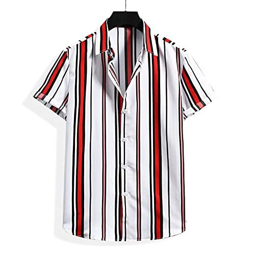 SSBZYES Camicie Da Uomo a Maniche Corte Camicie a Righe Da Uomo Estive Camicie a Maniche Corte Stampate a Righe Moda Casual Camicie a Fiori Da Spiaggia