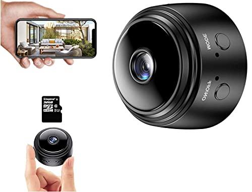 Mini Cámara Espía Oculta - WiFi Full HD 1080 con Detección de Movimiento - Mini Camara de Seguridad Portátil - con Visión Nocturna para Vigilancia Interior, Exterior. Negra