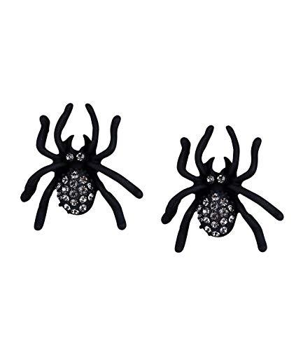 SIX Ohrringe: Creepy Ohrstecker mit schwarzen Spinnen, perfekter Ohrschmuck für Halloween, Fasching, Karneval mit Strass besetzt, schwarz (776-892)
