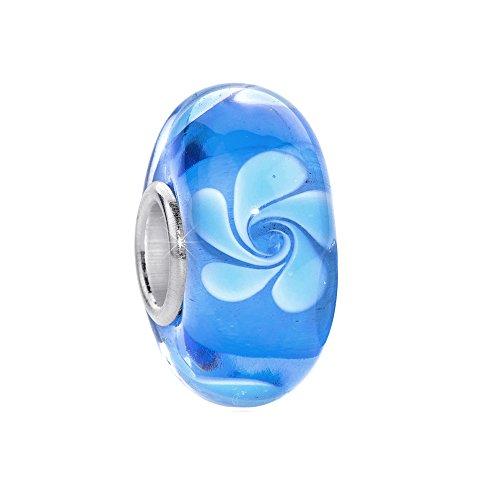 MATERIA in vetro di Murano perline ciondolo fiore in argento Sterling 925Blu per Beads braccialetto # 571