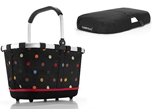 Reisenthel Set carrybag 2 Einkaufskorb Korb dots BL7009S + Cover schwarz BP7003 - Exklusives Angebot !