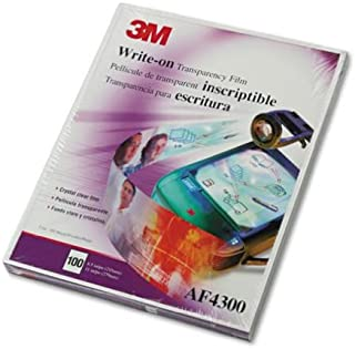 3M AF4300 Write-On Overhead Projector Transparency Film, Letter Size, Clear (Box of 100)