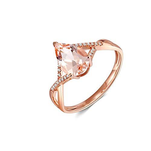 Beydodo Damen Ring Rosegold 750 Kreuz Streifen mit Morganit 1.05ct Hochzeitring Ehering Rosegold mit Diamant Gr.63 (20.1)