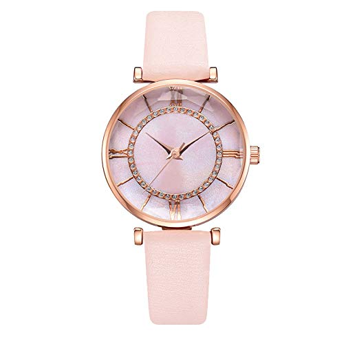 JZDH Women Watches Fashion Women's Watches Casual Leather Strap Compact Exquisite Dial Clock Wrist Watch Ladies Quartz Watch Ladies Girls Casual Decorative Watches (Color : Pink)
