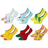 soxo lustige bunte Damen Füßlinge | Größe 35-40 | Kurze Sneakersocken | Damensocken aus Baumwolle mit witzigen Motiven | Besondere, mehrfarbig gemusterte Socken für Frauen