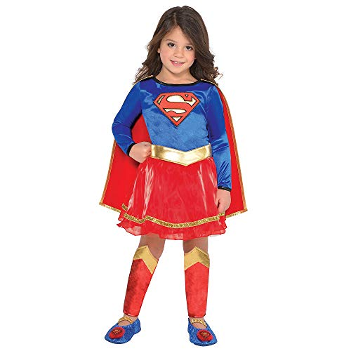 Suit Yourself Classic Supergirl Halloween Costume for Toddler Girls, DC's Superman Family, 3-4T, Includes Accessories