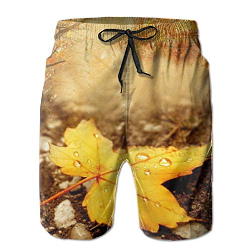 YongColer Men's Water Drop Yellow Maple Leaf Short Swim Trunks Best Board Shorts for Sports Running Swimming Beach Surfing Quick Dry Breathable Bathing Suits Beach Holiday Party Swim Shorts (L)