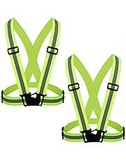 ZWOOS Reflekterande väst med hög synlighet och användbara bältesarmband, justerbar löparutrustning säkerhetsväst och armband för utomhuslöpning, cykling, promenader, vandring och motorcykelåkning