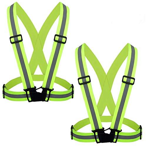 ZWOOS Seguridad Chaleco Reflectante Set + Dos Bandas, Ajustable Alta Visibilidad Elastic Reflector Chaleco para Correr, Senderismo, Ciclismo, Carreras, Motorista (2 x Chaleco Reflectante)