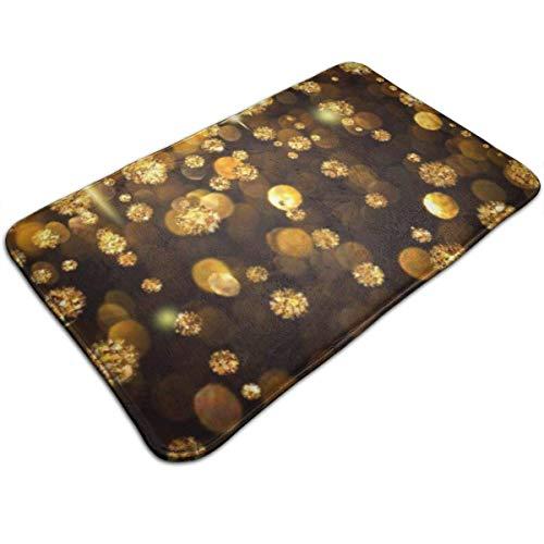 BEDKKJY Gold Regen Glanz Flimmern Leuchten Schmucksteine rutschfeste Badteppichmatte Duschmatte Maschinenwaschbare Badematten mit wasserabsorbierenden weichen Mikrofasern