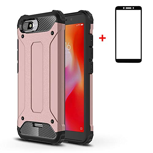 xinyunew Xiaomi Redmi 6A Funda, 360 Grados Protección +Vidrio Templado Protector Pantalla Silicona Caso Cover Case Carcasas TPU + plastico Anti Arañazos de Protectora - Rose