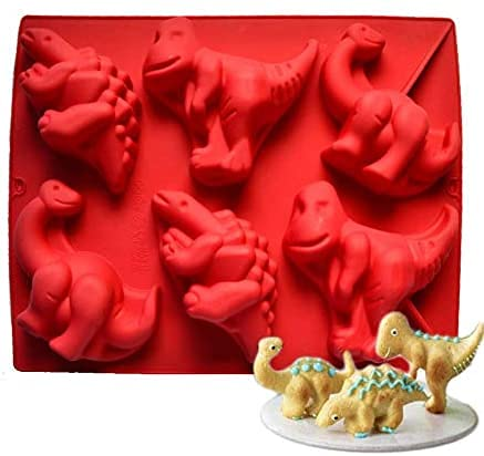 HXYA Silicone Moulds,6-Cavity Chocolate Mould DIY Cake Decort Candy Molds Silicone Mold Making Kit for Cake Handmade Soap Candles Ice Cube Cupcake Jelly Bread Pudding-3D Dinosaur