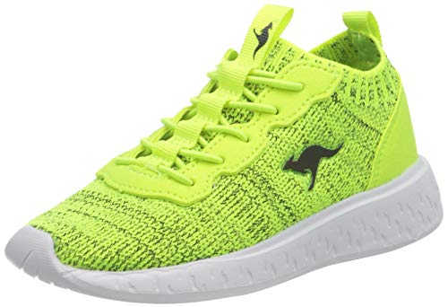 KangaROOS K-Act Stash Sneaker, Neon Yellow/Jet Black 7013, 33 EU