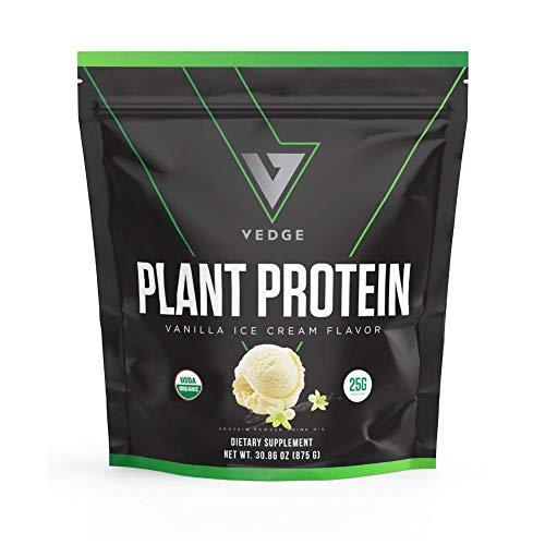 Certified Organic Plant Protein Vanilla Ice Cream (25 Servings) - Plant-Based Vegan Protein Powder, USDA Organic, Gluten Free, Non Dairy - Vedge Nutrition Plant Protein